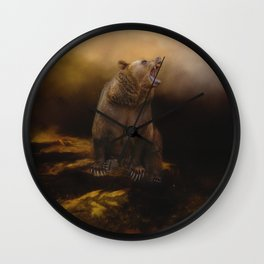 Roaring grizzly bear Wall Clock