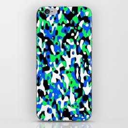 Uncovered Camouflage Neon Blue iPhone Skin