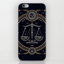 Libra Zodiac Golden White on Black Background iPhone Skin