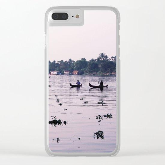 Sunrise Fishing Clear iPhone Case