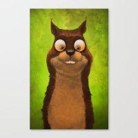 squirrel Canvas Prints featuring Squirrel by Tatyana Adzhaliyska