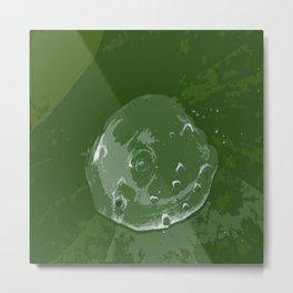 Waterdrop on Green Metal Print