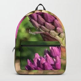 Purple Globus Allium Flower in Pre-Bloom - Floral Photography Backpack