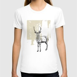 Deer illustration black and white T-shirt