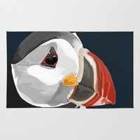 puffin Area & Throw Rugs featuring Pablo the Puffin by eMJay Digital Art