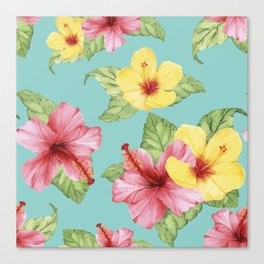 Tropical Hawaiian Hibiscus Floral Print Canvas Print