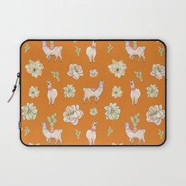 Llamas and Flowers in the Desert (orange palette) Laptop Sleeve