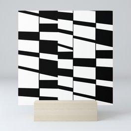 Slanting Rectangles - Black and White Graphic Art by Menega Sabidussi Mini Art Print