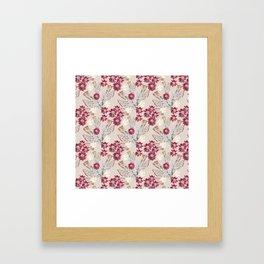 Pink field flowers on beig Framed Art Print