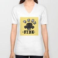 dark side V-neck T-shirts featuring dark side by benjamin chaubard