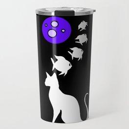 Cat Dreams Fish Swimming Over Moon Travel Mug