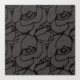 Rose pattern black and grey Canvas Print