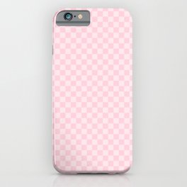 Light Soft Pastel Pink Checkerboard Chess Squares iPhone Case