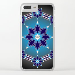 Morning Star Circle (Blue) Clear iPhone Case
