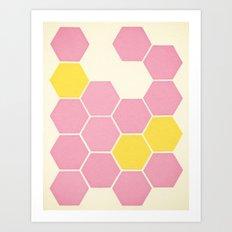 Pink Honeycomb Art Print