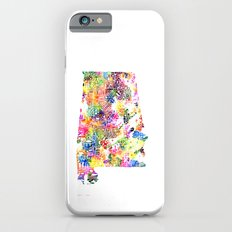 Typographic Alabama - Multi color Watercolor map art Slim Case iPhone 6s