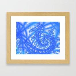Venetian Lace in Light and Medium Blues Framed Art Print