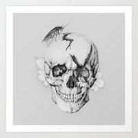 Art Print featuring Broken Skull with Roach by Podessto