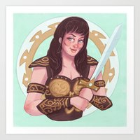xena Art Prints featuring xena warrior princess by Charlotte Foley
