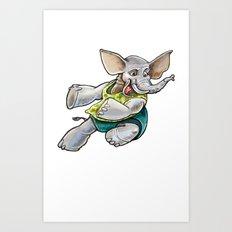 Elephant Jump Art Print