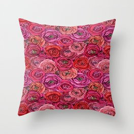 red and pink rose ranunculus floral Throw Pillow