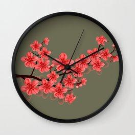 red oriental sakura flower Wall Clock