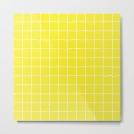 Lemon Yellow Grid Metal Print