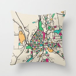 Colorful City Maps: Ithaca, New York Throw Pillow