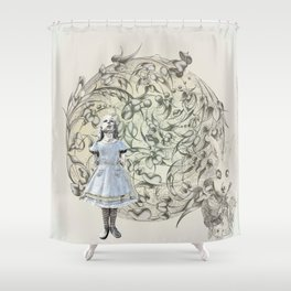 Alice,White Rabbit  and a Wonderland Shower Curtain