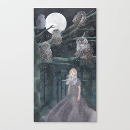 Girl with the owles Canvas Print