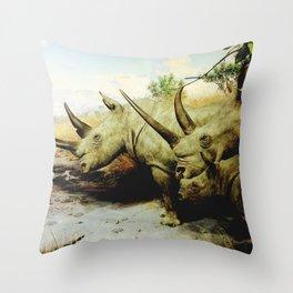 Rhino Family Throw Pillow