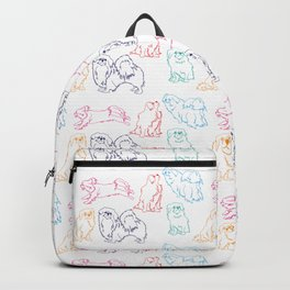Colourful Tibetan Spaniel Minimalist Outline Pattern Backpack