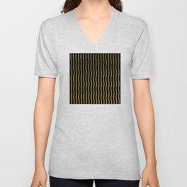 Art Deco Glitter-Gold Wavy Lines on Black Pattern Unisex V-Neck