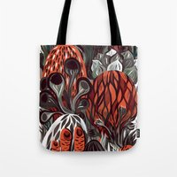 mushrooms Tote Bags featuring Mushrooms by pam wishbow