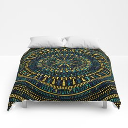 Chess Pieces Mandala - Marble and Golden texture Comforters