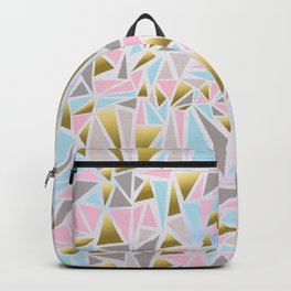 Pastel Pink Blue Triangle Pattern Backpack