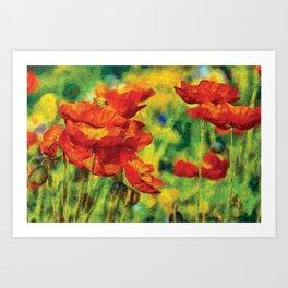 Poppies Van Gogh Modern Style Bold Art Print