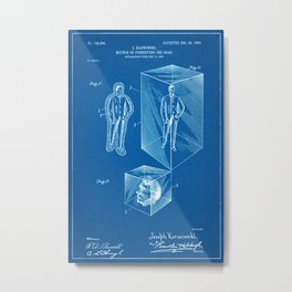 1903 Method for Preserving the Dead Patent - Blueprint Style Metal Print