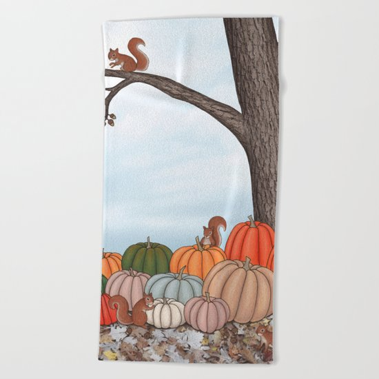 heirloom pumpkins, squirrels, & the oak tree Beach Towel
