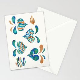 Cute abstract fish with metallic copper accents Stationery Cards