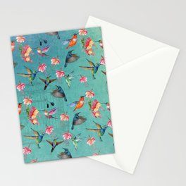 Vintage Watercolor hummingbirds and fuchsia flowers Stationery Cards