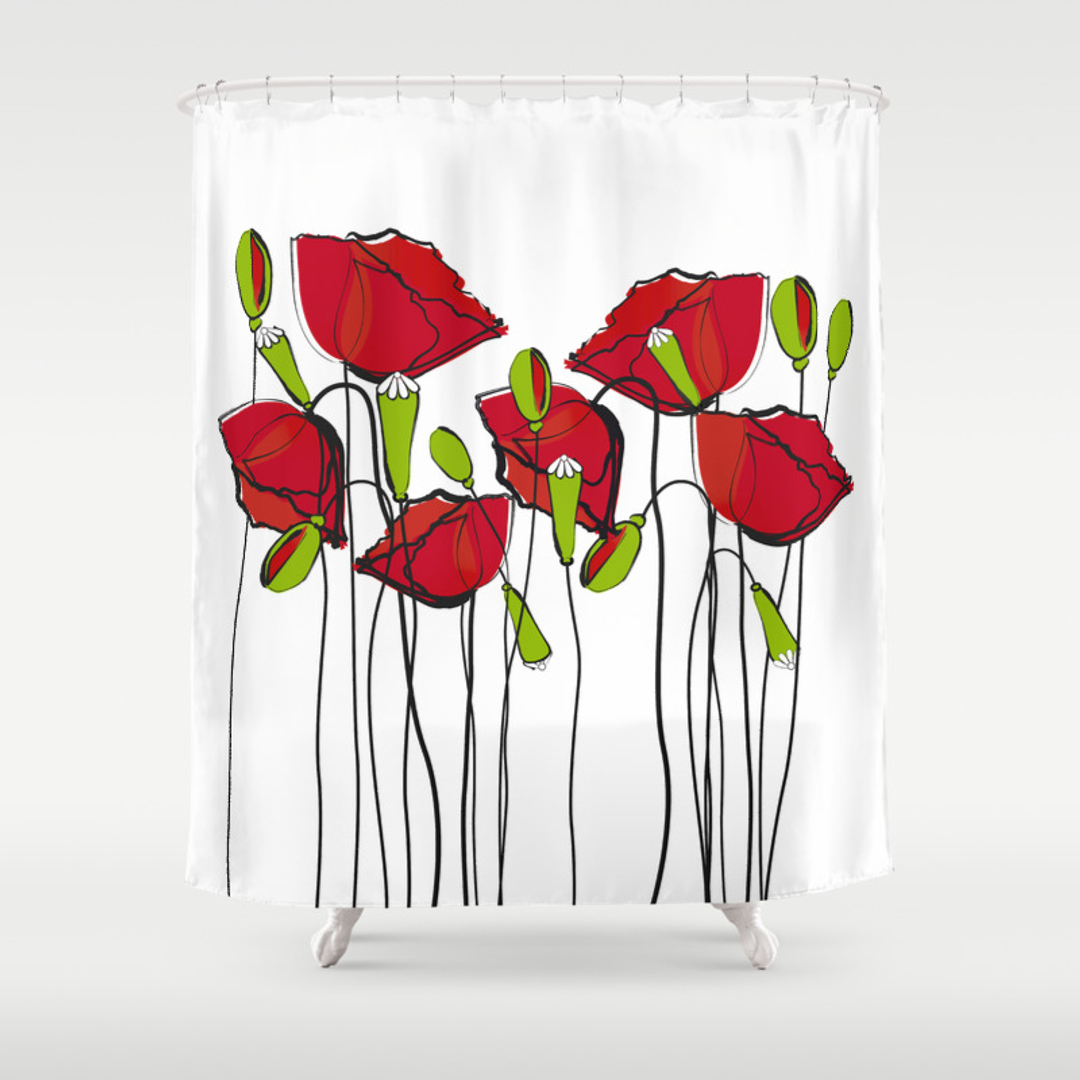 Comfortable Red Poppy Shower Curtain Pictures Inspiration - The ...