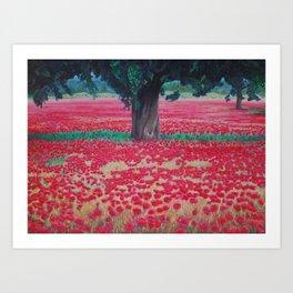 Olive Tree in Poppy Field Art Print
