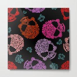Skull and Flowers Pattern Metal Print