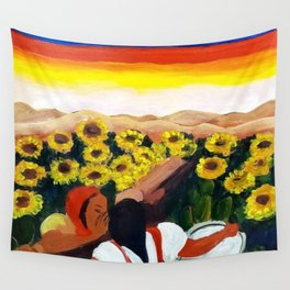 Classical Masterpiece Mexican Sunflowers 'Chismosas' floral landscape painting Wall Tapestry