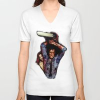 evil dead V-neck T-shirts featuring evil dead  by Official Nicolas Cage Cats