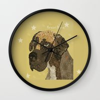 great dane Wall Clocks featuring the great dane by bri.buckley