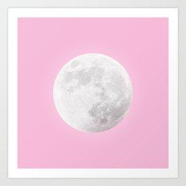 WHITE MOON + PINK SKY Art Print