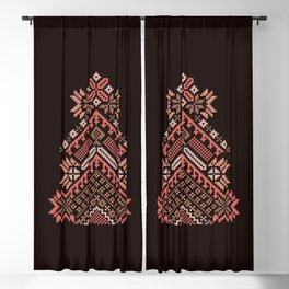 Knitted beautiful coral Christmas tree Blackout Curtain