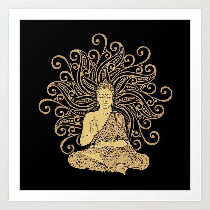 Mandala Golden Buddha Kunstdrucke